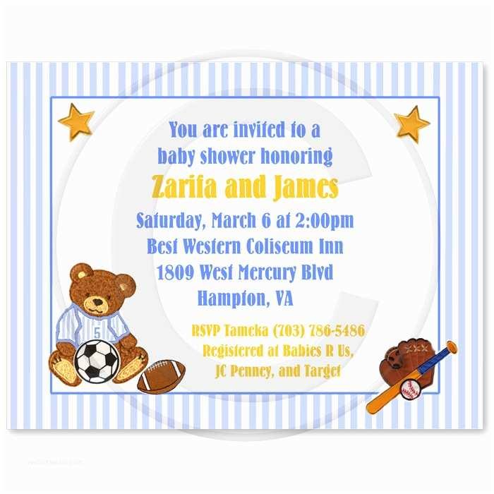 Bear Baby Shower Invitations Teddy Bear Sports Baby Shower Invitations Party Xyz