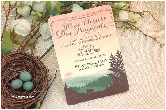 Bear Wedding Invitations 5x7 Whimsical Rolling Hills with Bear Wedding Invitation Get