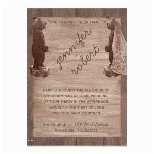 Bear Wedding Invitations Barn Wood Bears Country Wedding Invitation