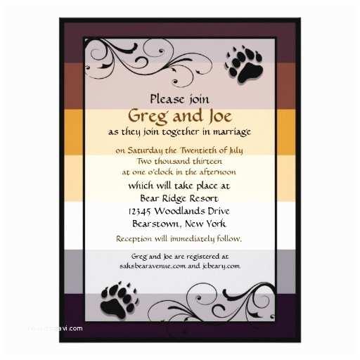 "Bear Wedding Invitations Bear Pride Custom Gay Wedding Invitations 6 5"" X 8 75"