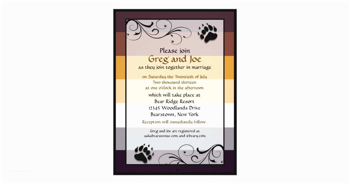 Bear Wedding Invitations Bear Pride Custom Gay Wedding Invitations