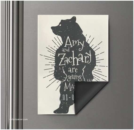 Bear Wedding Invitations Bear Save the Date Wedding Invitation Magnet Bear Magnet