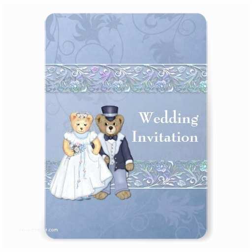 "Bear Wedding Invitations Bride and Groom Teddy Bear Wedding Invitation 5"" X 7"