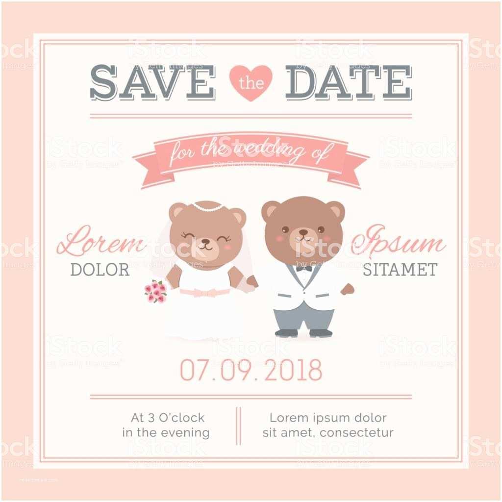 Bear Wedding Invitations Cute Bear Couple Cartoon Illustration for Wedding