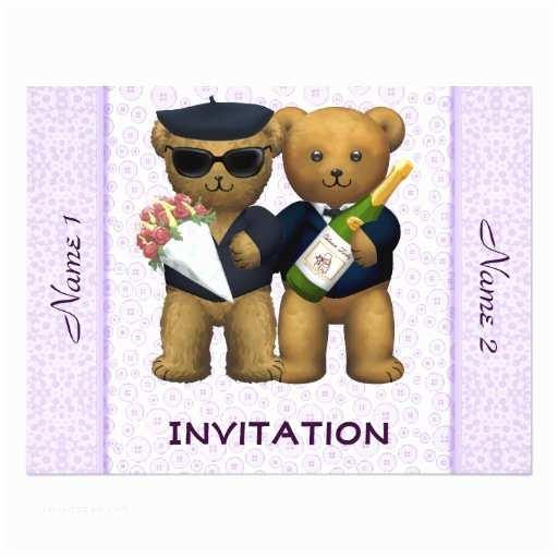 """Bear Wedding Invitations Gay Wedding Invitation Teddy Bears Lilac 4 25"""" X 5 5"""