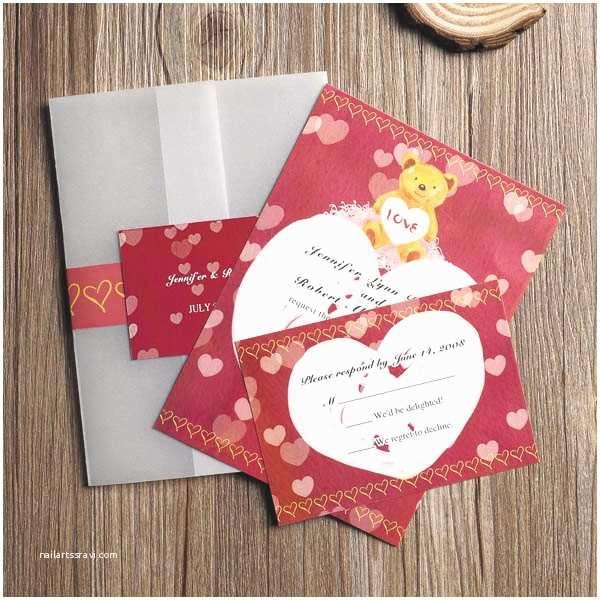 Bear Wedding Invitations Heart Wedding Invitations Cheap Invites at