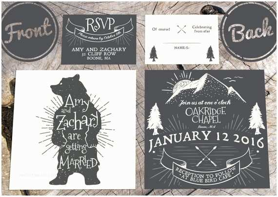 Bear Wedding Invitations Mountain Bear Wedding Invitation with Rsvp by