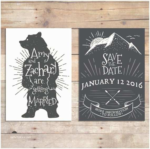 Bear Wedding Invitations Mountain Save the Date Wedding Invitations Bear Save the