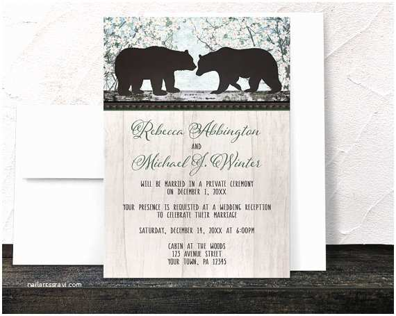 Bear Wedding Invitations Rustic Bear Reception Ly Invitations and Rsvp Reply
