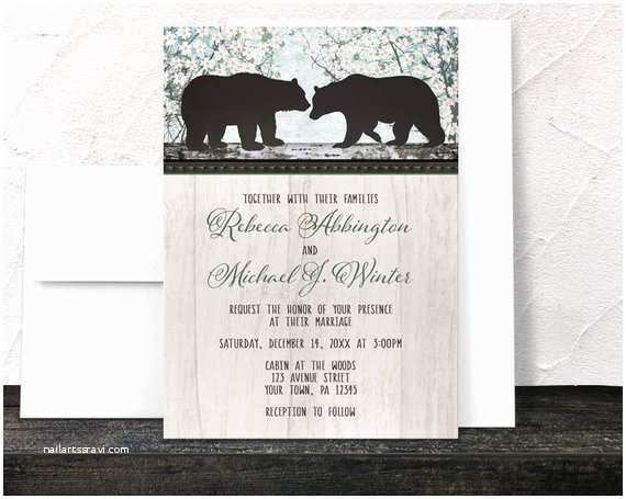 Bear Wedding Invitations Rustic Bear Wedding Invitations Spring Country Outdoorsy