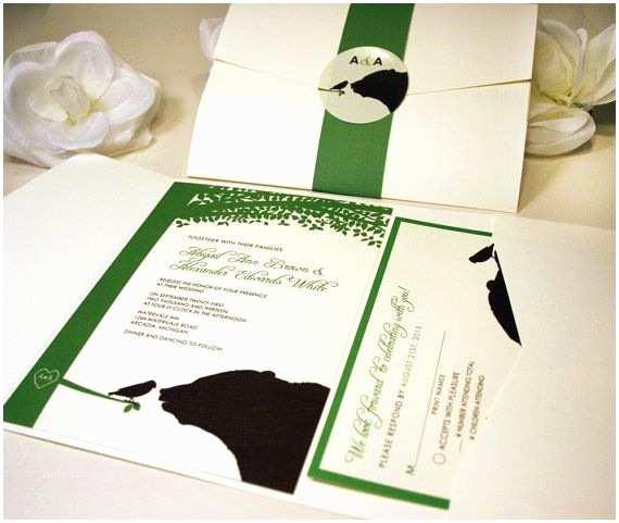 Bear Wedding Invitations Sample Bear and Bird Pocketfold Wedding Invitation Cream