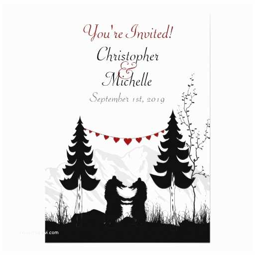 Bear Wedding Invitations Silhouette Mountain Bears Wedding Invitation