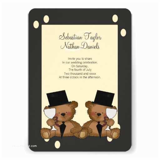 Bear Wedding Invitations Teddy Bear Grooms Wedding Personalized Invitation