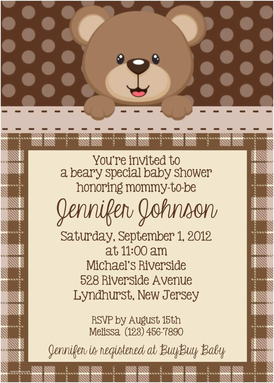 Bear Wedding Invitations Teddy Bear Invitation Personalized Custom Teddy Bear