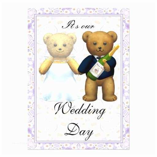 Bear Wedding Invitations Teddy Bears Tall Wedding Invite Invitation