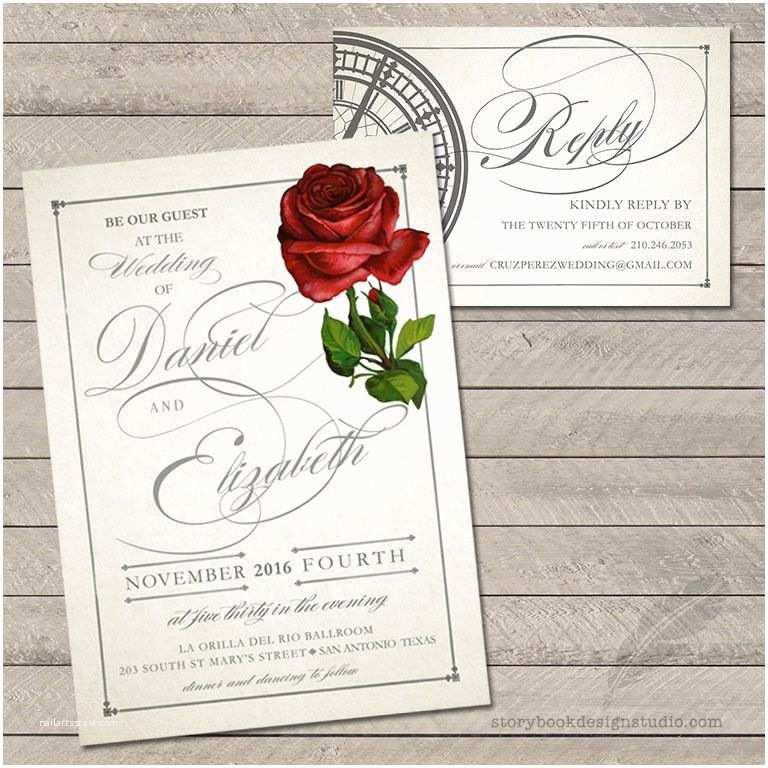 Beauty and the Beast Inspired Wedding Invitations 100 Beauty and the Beast Wedding Invitations Rose Tale as Old as Time Printed Ebay