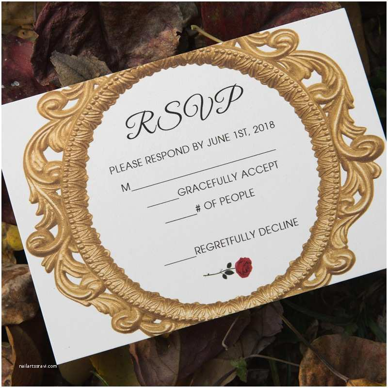 Beauty and the Beast Inspired Wedding Invitations Beauty and the Beast Fairy Tale Enchanted Mirror and Red Rose Wedding Invitations Ewi427 as Low