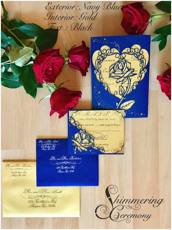 Beauty and the Beast Inspired Wedding Invitations Beauty and the Beast Inspired Rose Gatefold Laser Cut