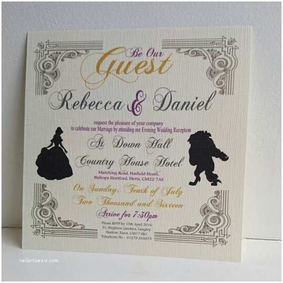 Beauty And The Beast Inspired Wedding Invitations Beauty And The Beast Wedding Evening Invite By