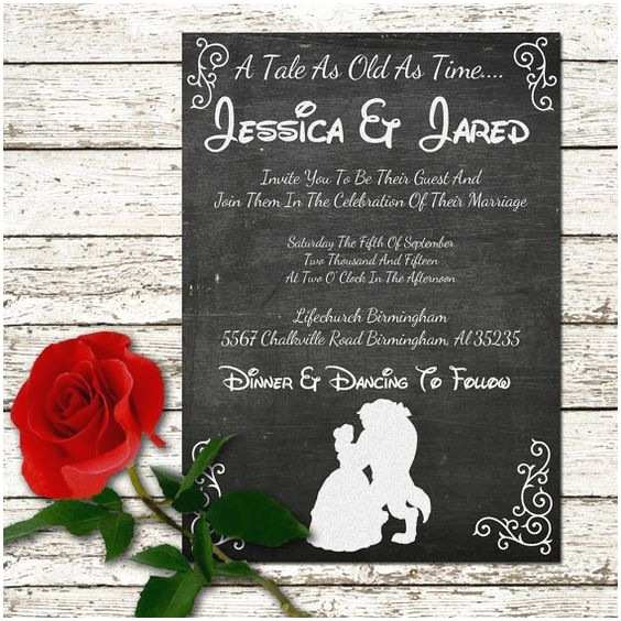 Beauty and the Beast Inspired Wedding Invitations Beauty and the Beast Wedding Invitation Rustic Chalkboard Printable Digital File or Prints