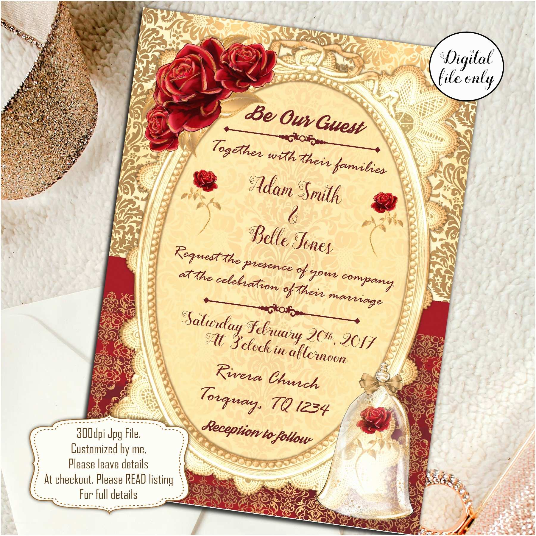 Beauty and the Beast Inspired Wedding Invitations Beauty and the Beast Wedding Invitations Wedding Invite Red