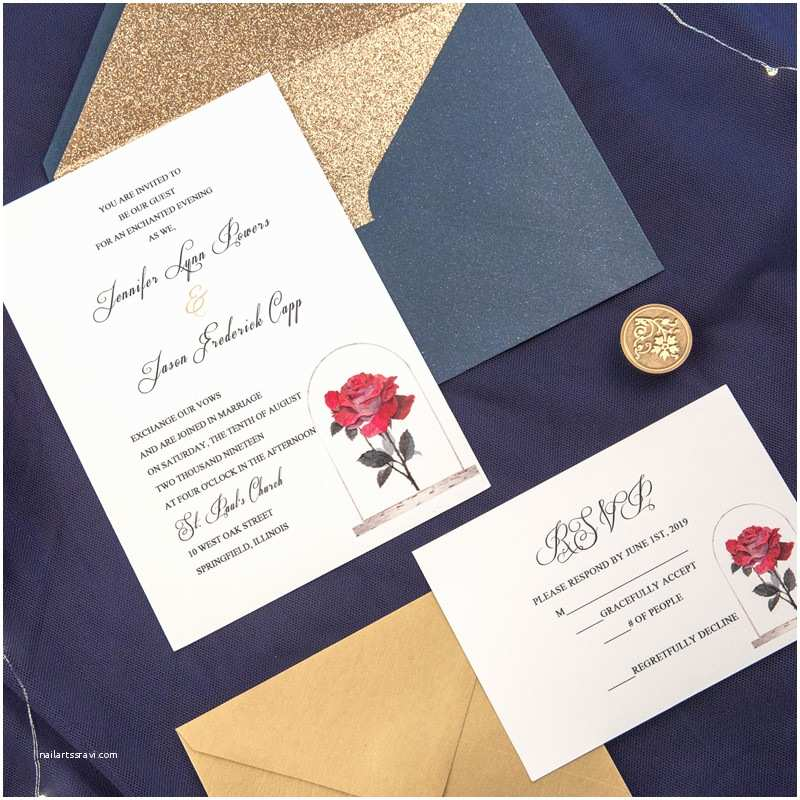 Beauty and the Beast Inspired Wedding Invitations but A Rose – Vintage Beauty and the Beast Inspired Uv Printing Wedding Invitation Ewuv017 as Low