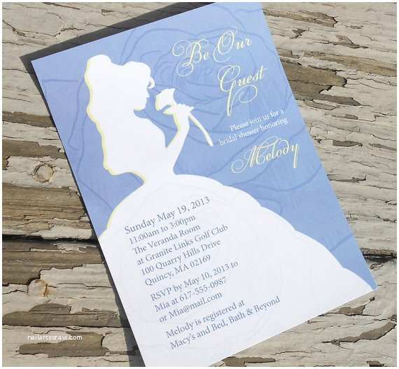 Beauty and the Beast Inspired Wedding Invitations Disney Beauty and the Beast Belle Bridal Shower Invitation