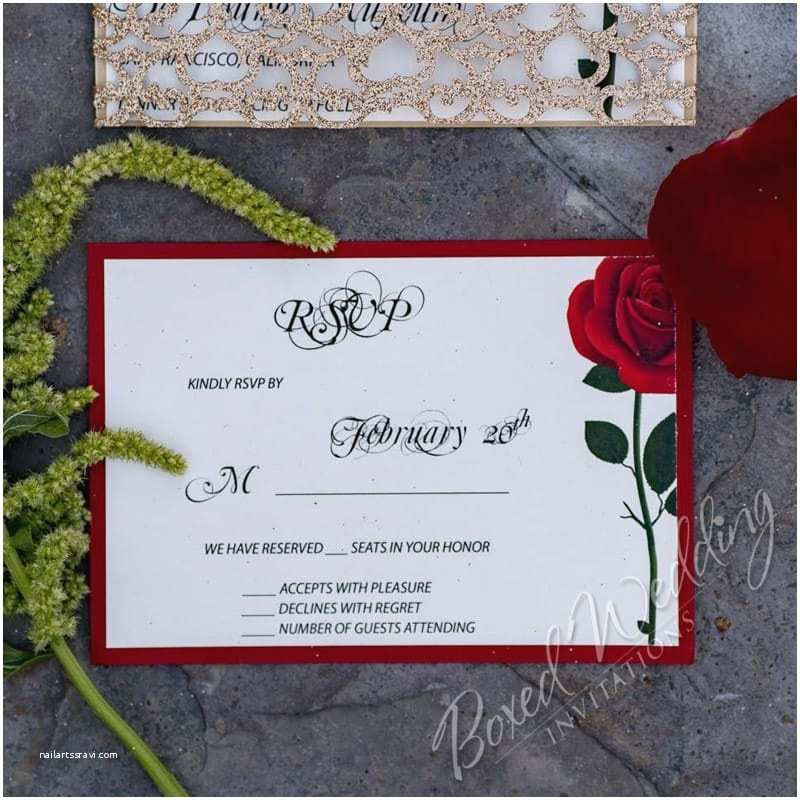 Beauty and the Beast Inspired Wedding Invitations Red Rose Wedding Invitation Inspired by the Beauty and the Beast Movie Boxedweddinginvitations