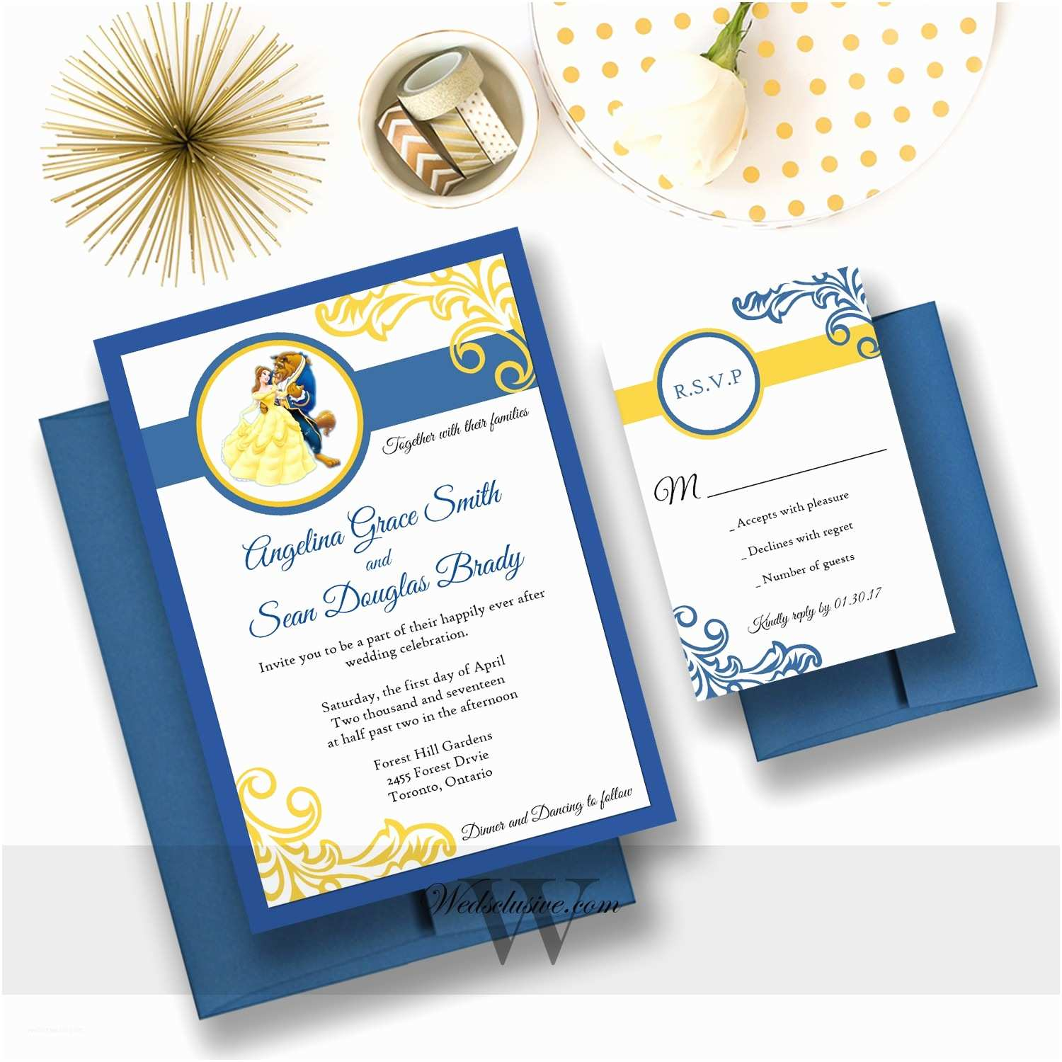 Beauty and the Beast Inspired Wedding Invitations Stunning Beauty and the Beast Wedding Invitations