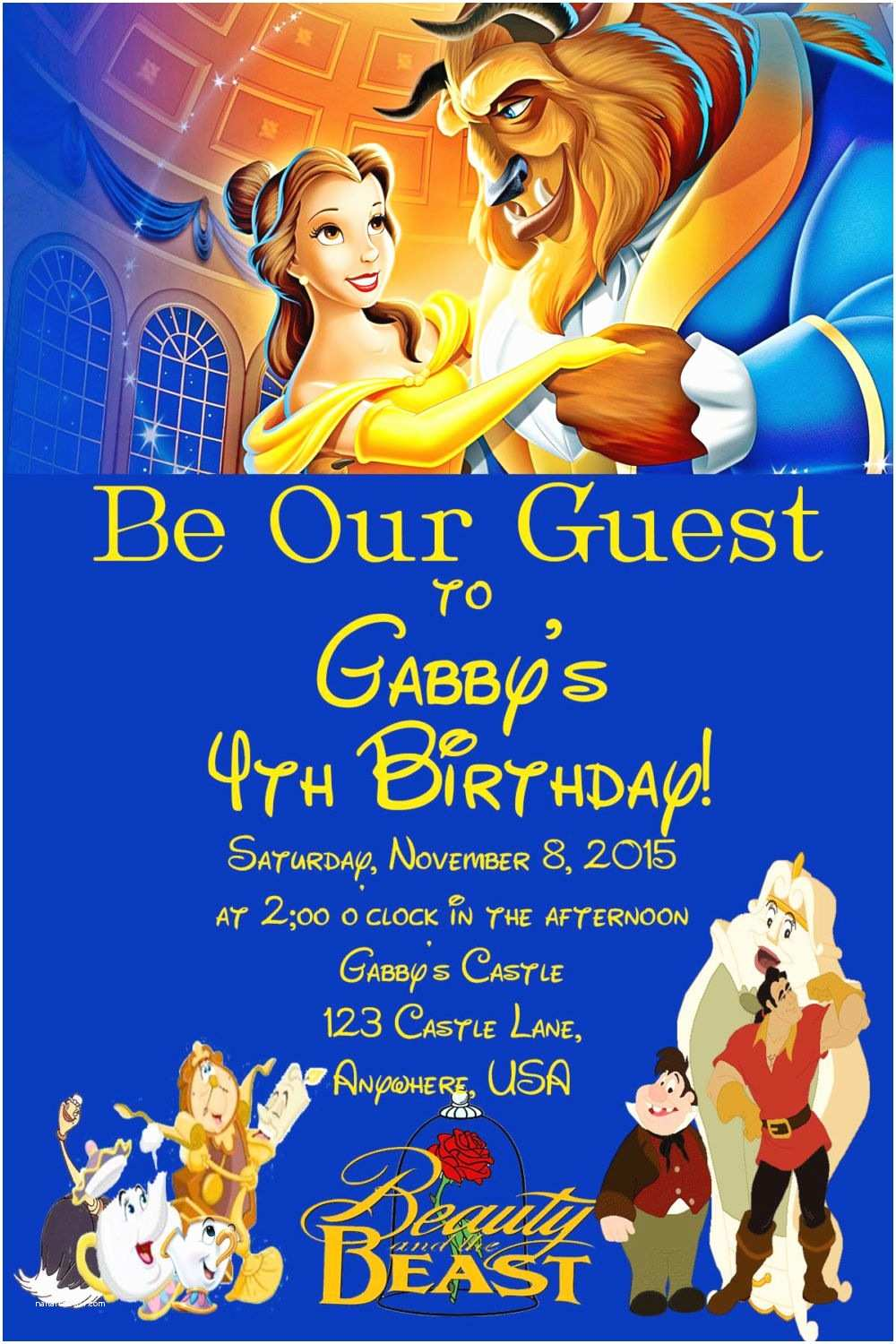 Beauty and the Beast Party Invitations Beauty and the Beast Birthday Invitation by