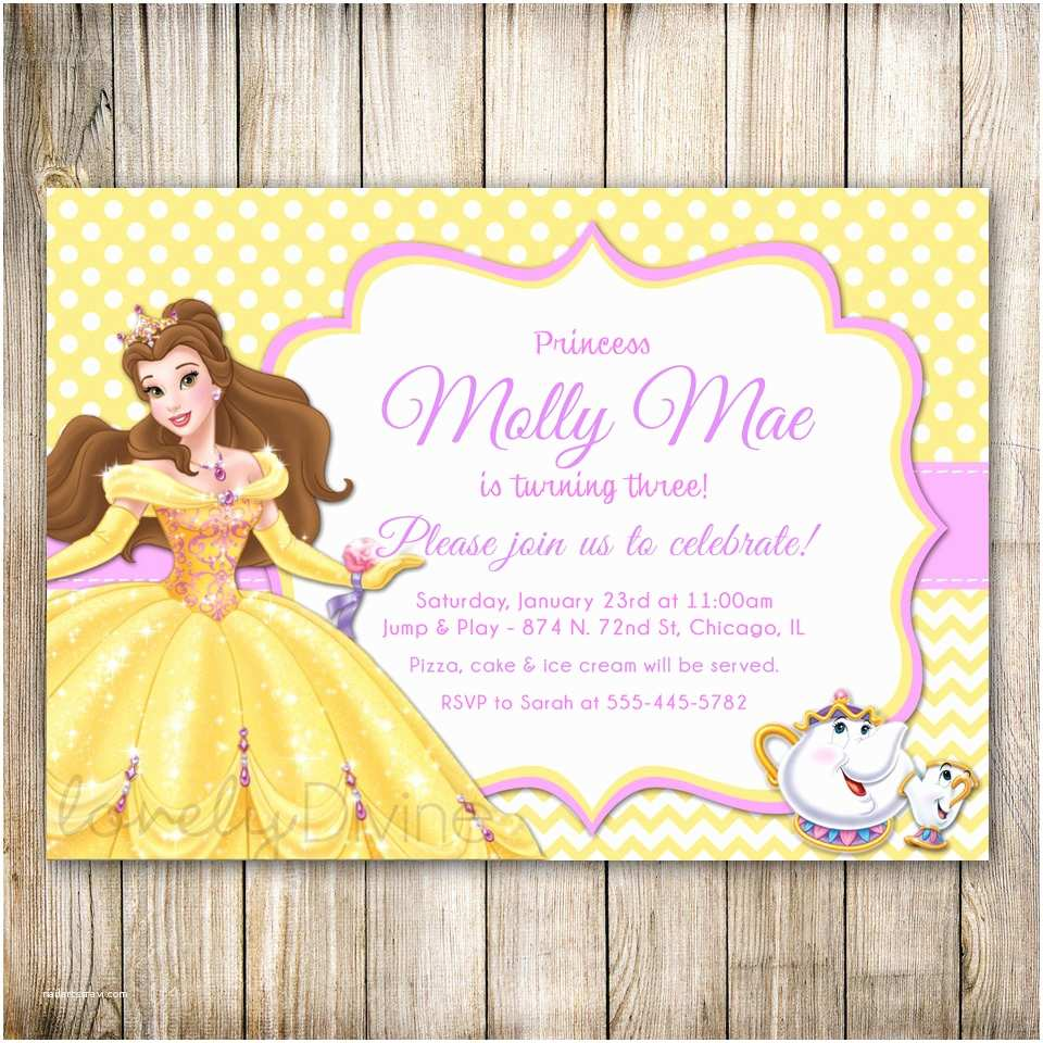 Beauty and the Beast Party Invitations Beauty and the Beast Birthday Invitation Princess Belle