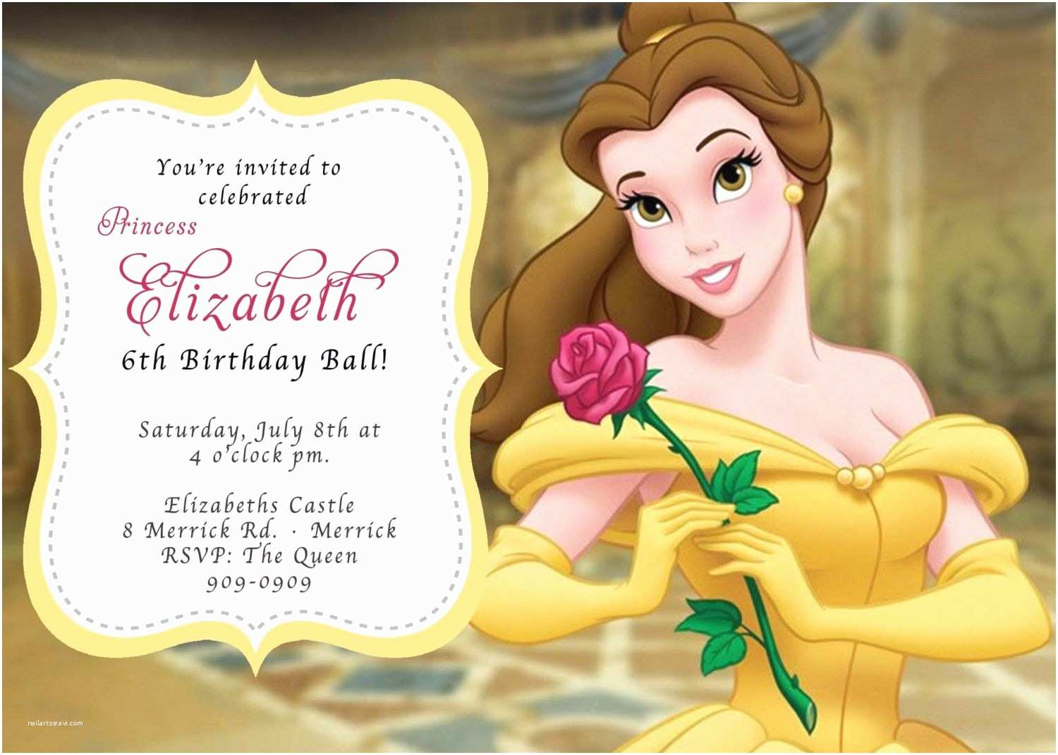 Beauty and the Beast Party Invitations Beauty and the Beast Birthday Invitations