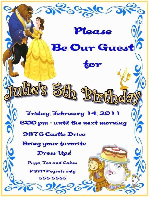 Beauty and the Beast Party Invitations Beauty and the Beast Birthday Party Invitation Ideas