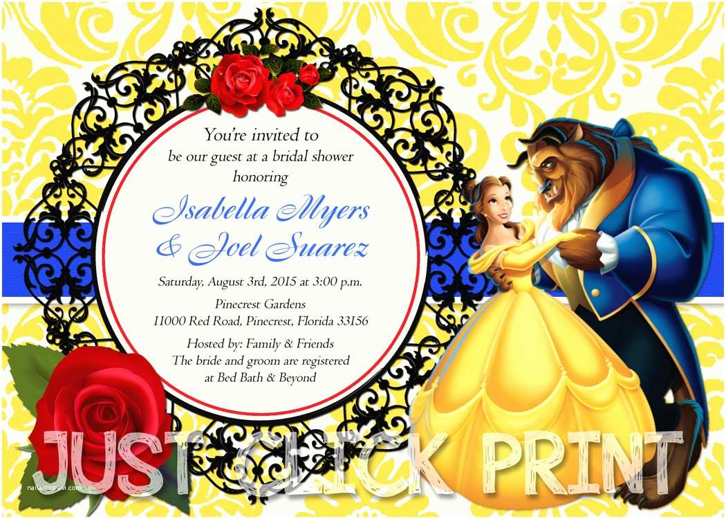 Beauty and the Beast Party Invitations Beauty and the Beast Bridal Shower or Birthday Invitation