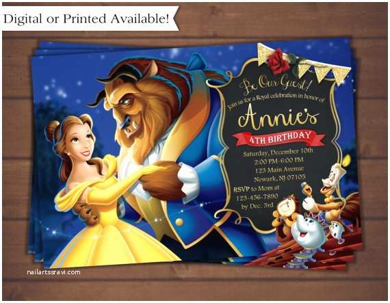 Beauty and the Beast Party Invitations Beauty and the Beast Invitation