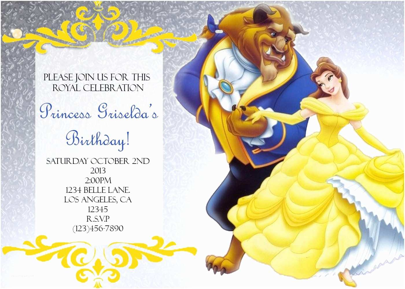Beauty and the Beast Party Invitations Beauty and the Beast Party Invitations Mickey Mouse