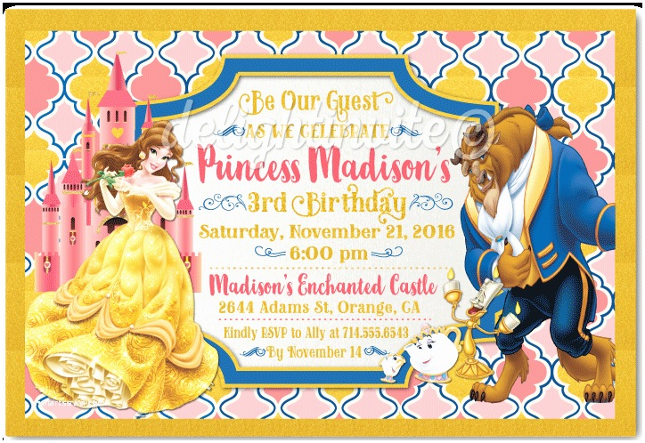 Beauty and the Beast Party Invitations Beauty and the Beast Princess Belle Birthday Invitations