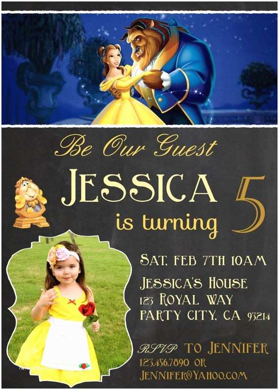 Beauty and the Beast Party Invitations Belle Beauty and the Beast Invitation Invite Birthday