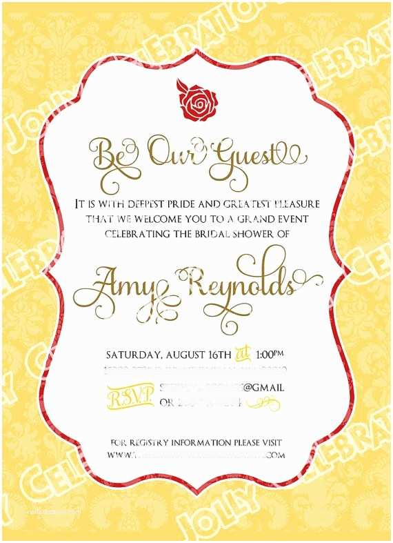 Beauty and the Beast Party Invitations Belle or Beauty and the Beast Bridal Shower Invitation