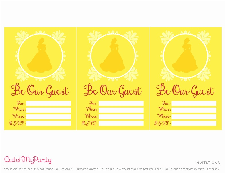 Beauty and the Beast Party Invitations Free Beauty and the Beast Printables for Birthday Parties