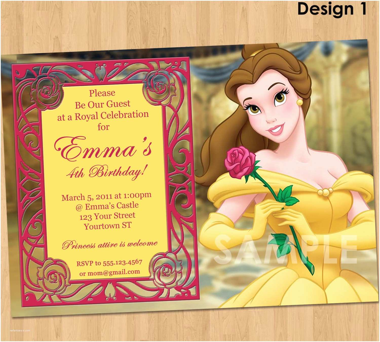 Beauty and the Beast Party Invitations Princess Belle Invitation Beauty and the Beast Party