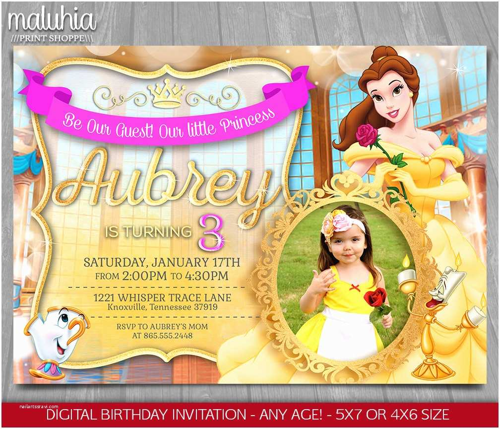 Beauty and the Beast Party Invitations Princess Belle Invitation Disney Beauty and the Beast Invite