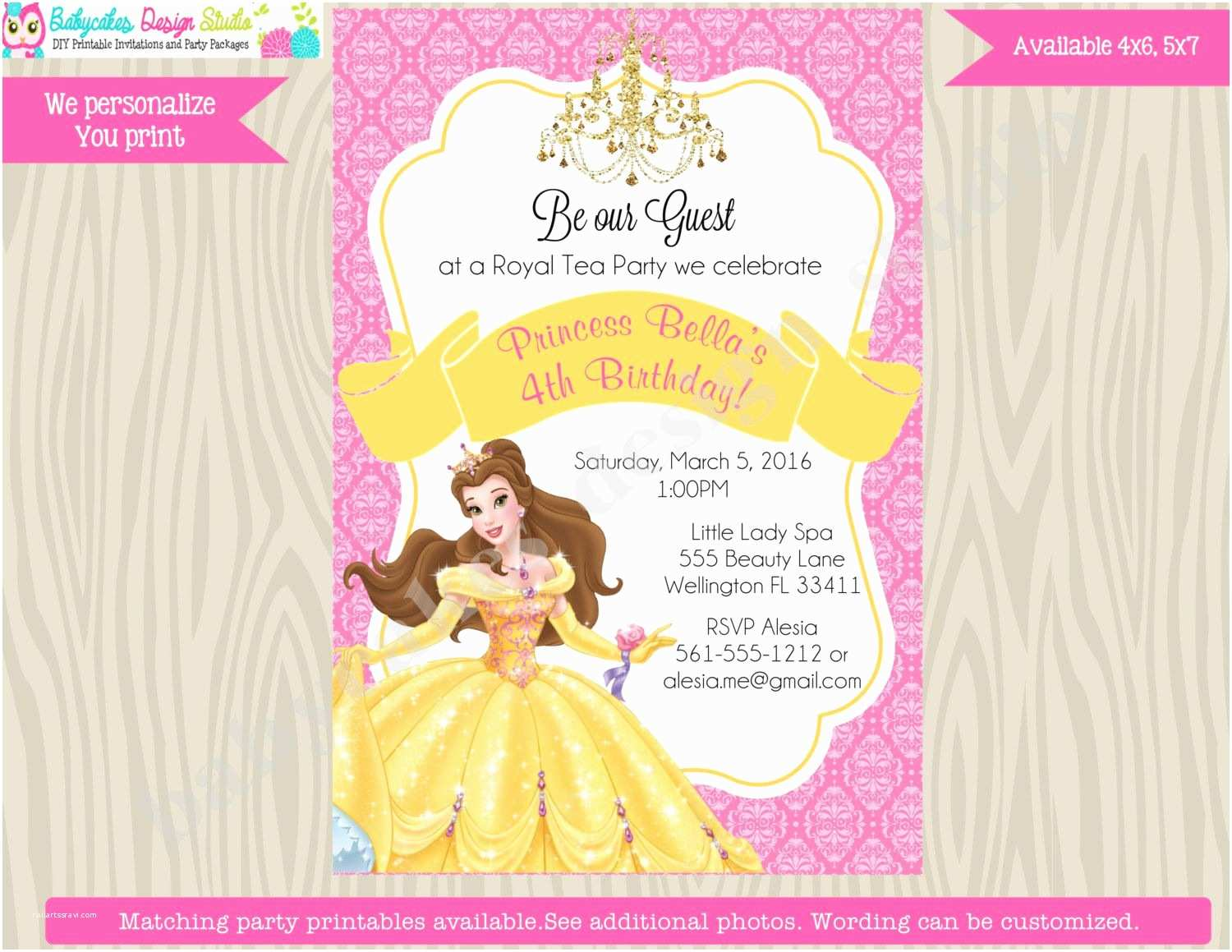 Beauty and the Beast Party Invitations Princess Belle Invitation Invite Belle Birthday Invitation