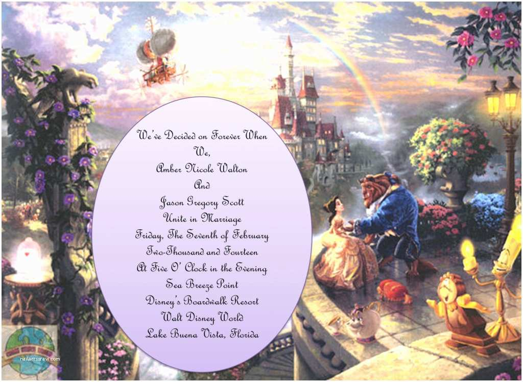 Beauty and the Beast Wedding Invitations Beauty and the Beast theme Wedding Invitations