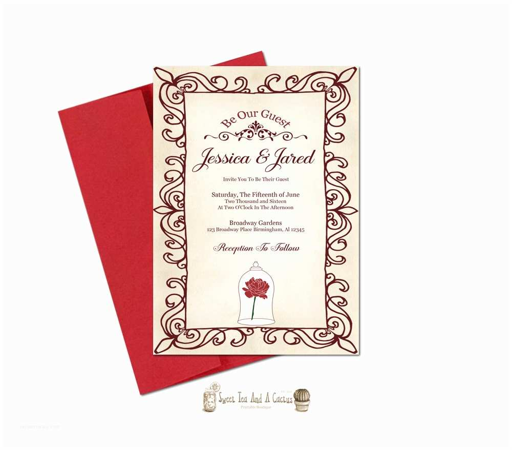 Beauty and the Beast Wedding Invitations Beauty and the Beast Wedding Invitation Printable Be Our Guest