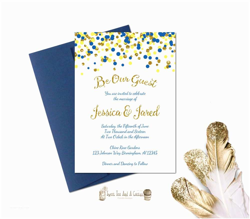 Beauty and the Beast Wedding Invitations Beauty and the Beast Wedding Invitation Printable Blue Yellow