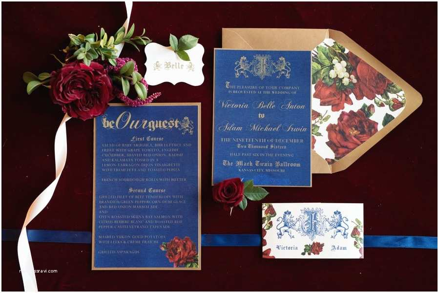 Beauty and the Beast Wedding Invitations Tale as Old as Time Inspired Bride