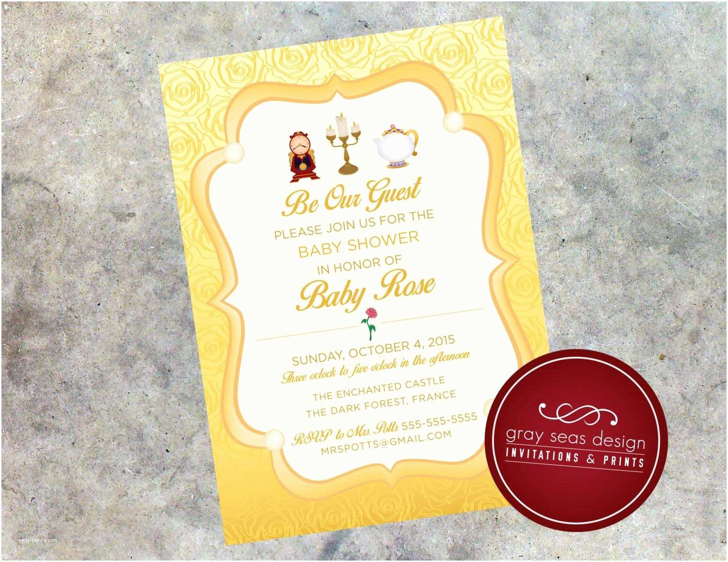 Beauty and the Beast Wedding Shower Invitations Be Our Guest Beauty and the Beast S Belle Inspired 5x7