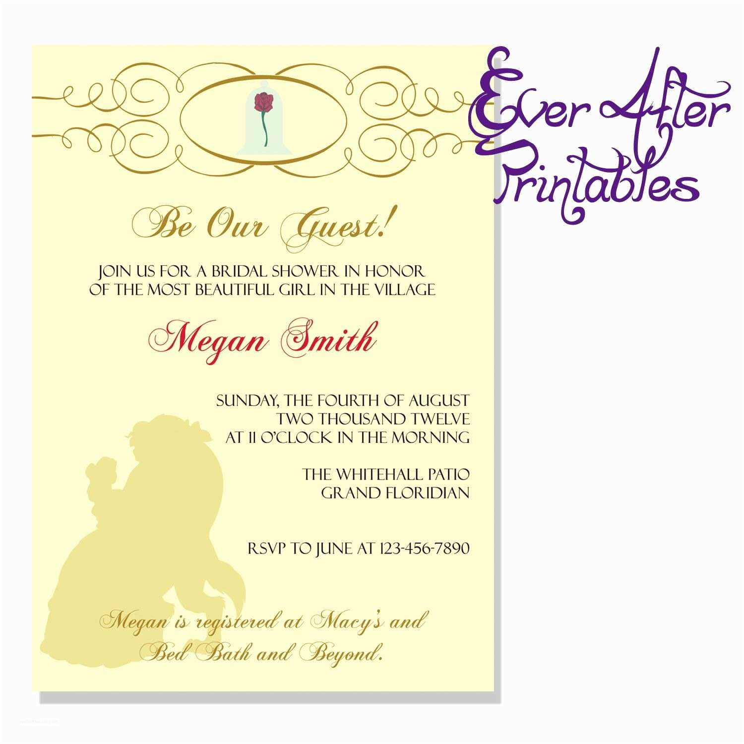Beauty and the Beast Wedding Shower Invitations Beauty and the Beast Invite