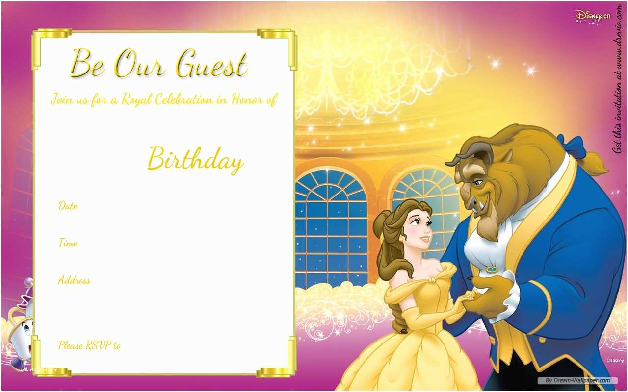 Beauty and the Beast Wedding Shower Invitations Free Printable Beauty and the Beast Royal Invitation